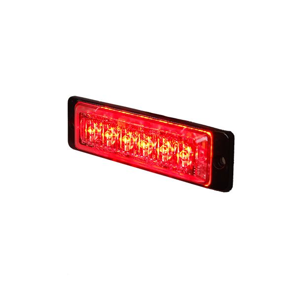 Red High Intensity 6 LED Slimline Warning Light - 12/24V