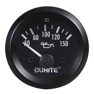 12V Oil Temperature Gauge, 90° Sweep Dial With Sender