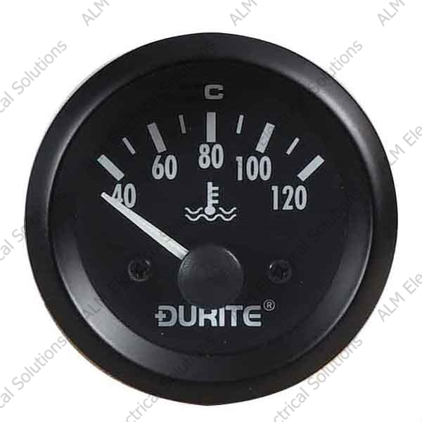12V Water Temperature Gauge, 90° Sweep Dial With Sender