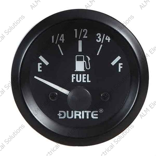 24V Fuel Gauge, 90° Sweep Dial With Sender