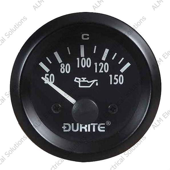 24V Oil Temperature Gauge, 90° Sweep Dial With Sender