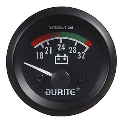 24V Battery Condition Voltmeter, 90° Sweep Dial