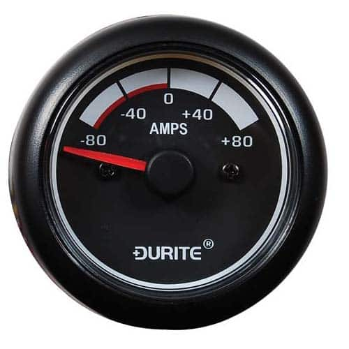 12/24V 80-0-80A Ammeter, 90° Sweep Dial