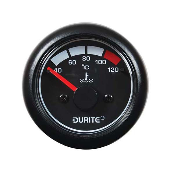 12/24V, 40° to 120°C Water Temp Gauge, 90° Sweep Dial