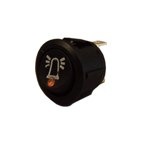 12v/24v Amber LED On/Off Round Rocker Switch with Beacon Symbol