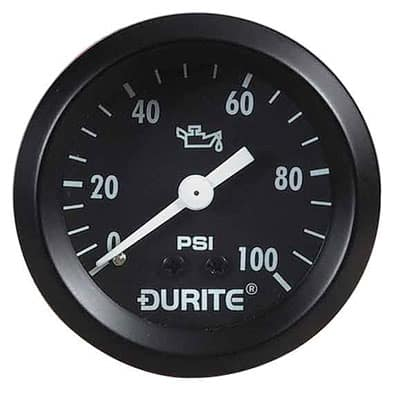 "Durite Oil Pressure Gauge, 270° Sweep Dial with 1/8"" NPTF"