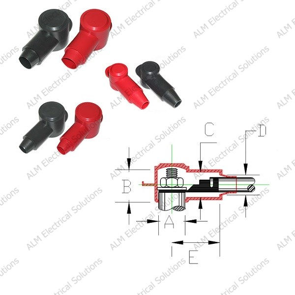 Black 3.30mm VTE Terminal Insulators With Post Height 17.8mm