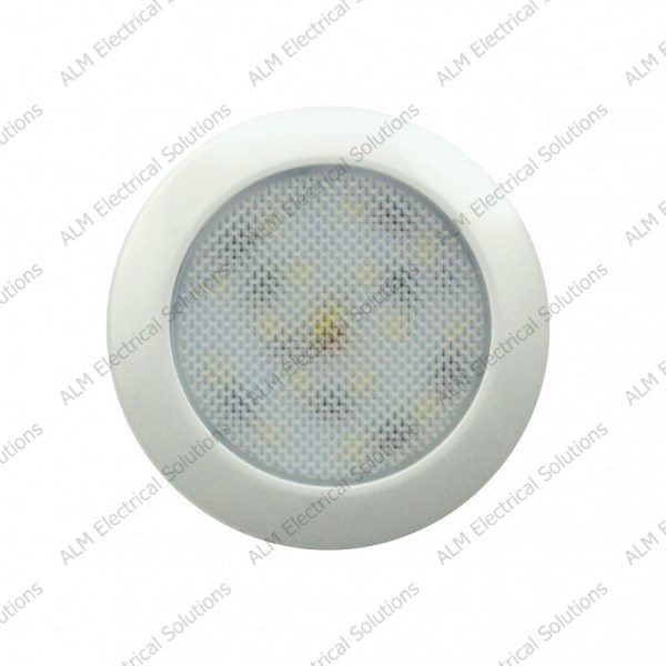 12V Low Profile Round Interior Lamp - White - Cool White