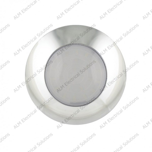 12V Chrome Round Interior Lamp – Opaque Lens - Cool White