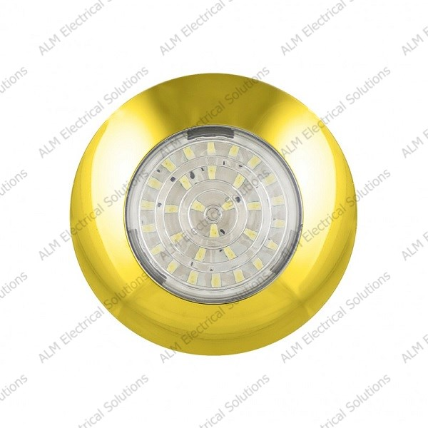 12V Round Interior Lamp – Gold - Cool White