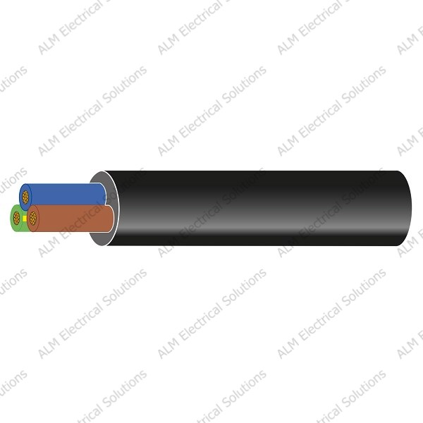 3 x 0.75mm² Rubber 3 Core Mains Cable - 6 Amps
