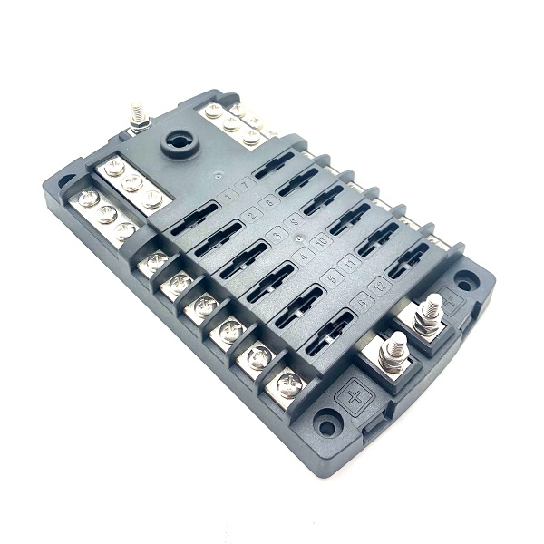 12 Way Marine Type Fuse Box With Negative Bus Bar & Cover