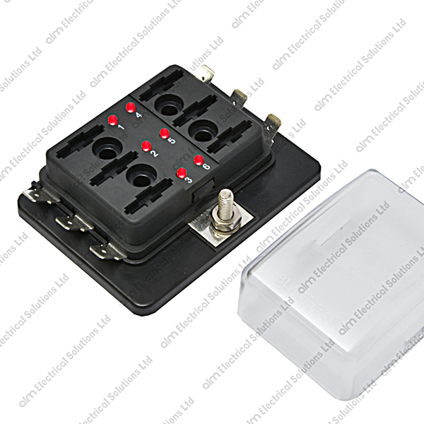 FHLED-6 - 6 Way Blade Fuse Box With LED Failure Warning