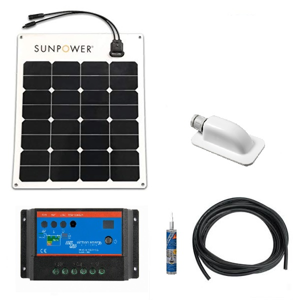 Flexible Sunpower Solar Panel Kit With 10A Victron PWM Regulator