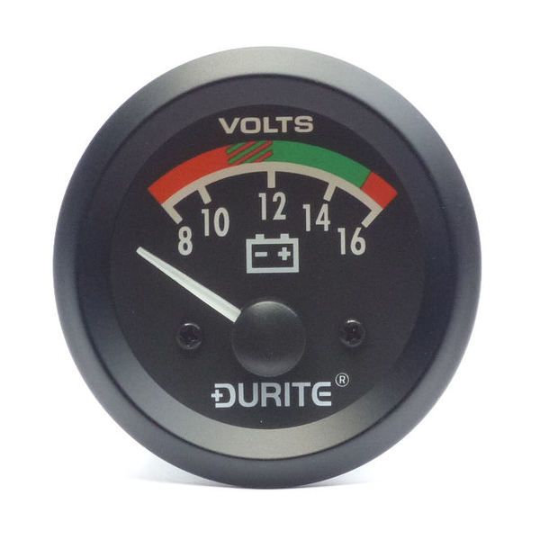 12V Battery Condition Voltmeter, 90° Sweep Dial
