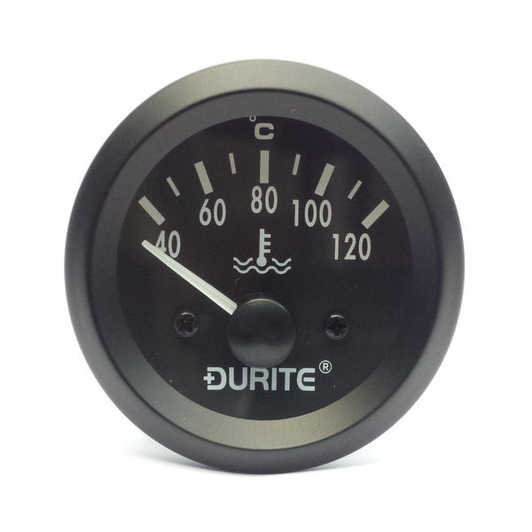 24V Water Temperature Gauge, 90° Sweep Dial With Sender